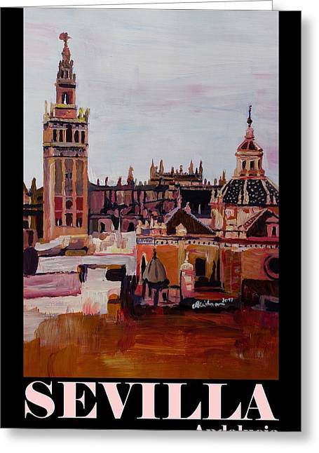 Retro Vintage Poster Of Seville Spain Andalucia With Giralda Greeting Card by M Bleichner