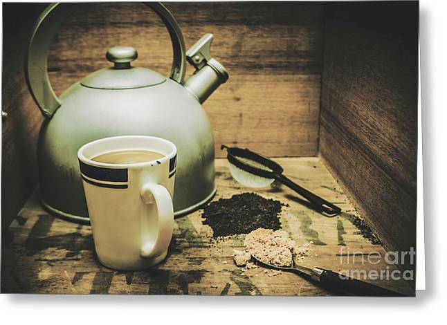 Retro Vintage Toned Tea Still Life In Crate Greeting Card by Jorgo Photography - Wall Art Gallery