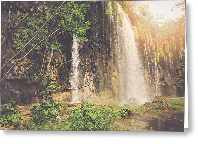 Retro Waterfall With Sunlight With Vintage Film Style Greeting Card