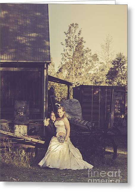 Retro Wedding Couple At Australian Farm Cottage Greeting Card by Jorgo Photography - Wall Art Gallery