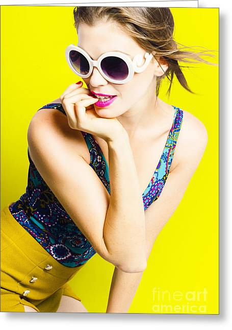 Retro Yellow Fashion Portrait  Greeting Card by Jorgo Photography - Wall Art Gallery