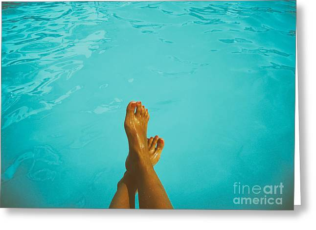 Retro Young Girl Relaxing Her Feet At Swimming Pool Greeting Card by Radu Bercan