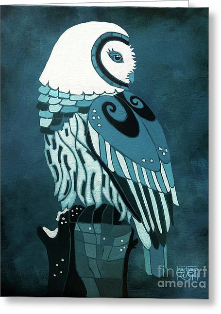 Retrospect In The Moonlight Owl Greeting Card