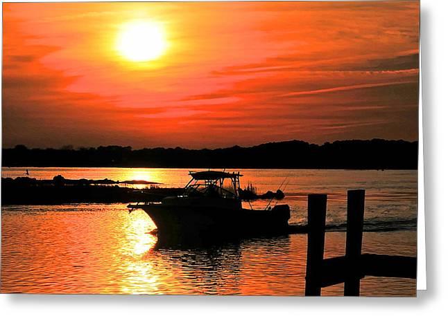 Return At Sunset Greeting Card