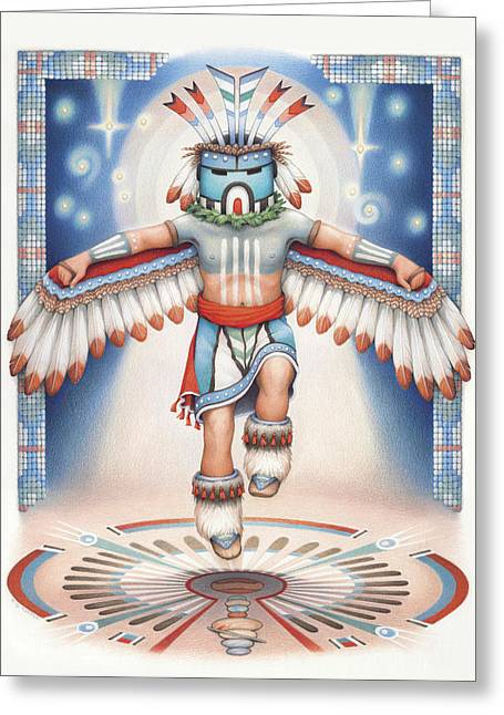 Return Of The Blue Star Kachina Greeting Card by Amy S Turner