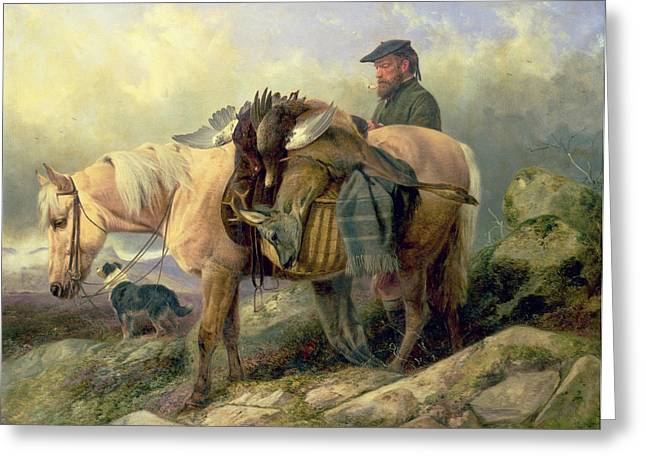 Hunting Greeting Cards - Returning from the Hill Greeting Card by Richard Ansdell