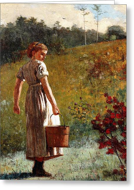 Returning From The Spring Greeting Card by Winslow Homer