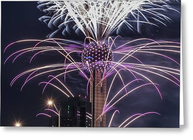 Reunion Tower Fireworks Greeting Card