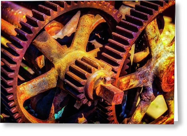 Reusting Gears In Train Yard Greeting Card