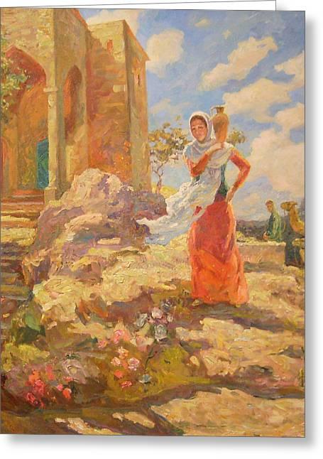 Revekka Near The Well Greeting Card by Svetlana Anoshkina