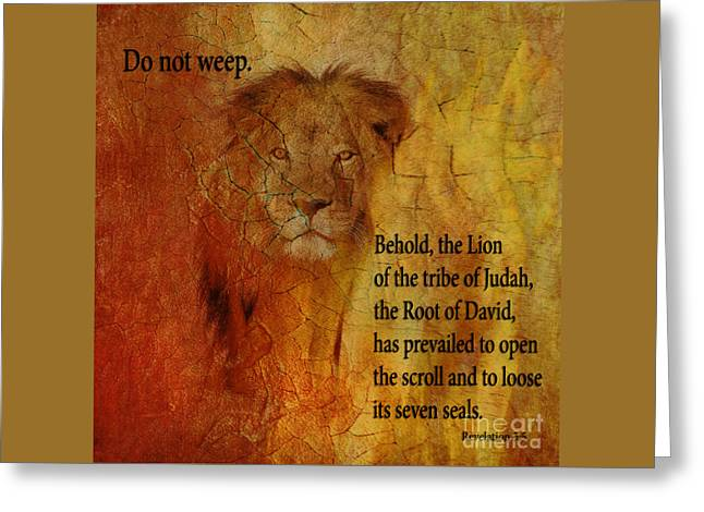 Revelation 5  5 Behold Greeting Card by Beverly Guilliams