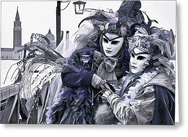 Revelry In Venice Greeting Card by Susan Maxwell Schmidt