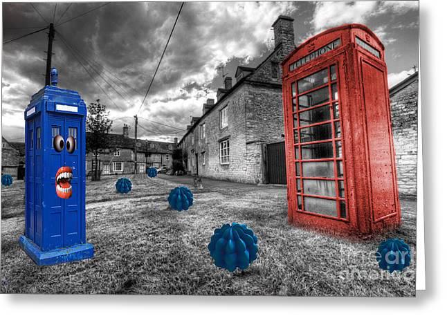 Revenge Of The Killer Phone Box  Greeting Card by Rob Hawkins