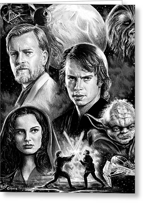 Revenge Of The Sith Bw Greeting Card