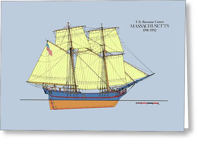 Revenue Cutter Massachusetts In Color Greeting Card by Jerry McElroy