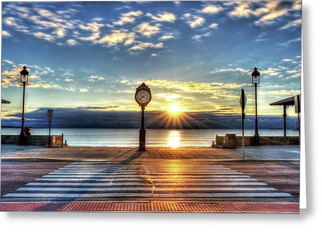 Revere Beach Clock At Sunrise Angled Long Shadow Revere Ma Greeting Card