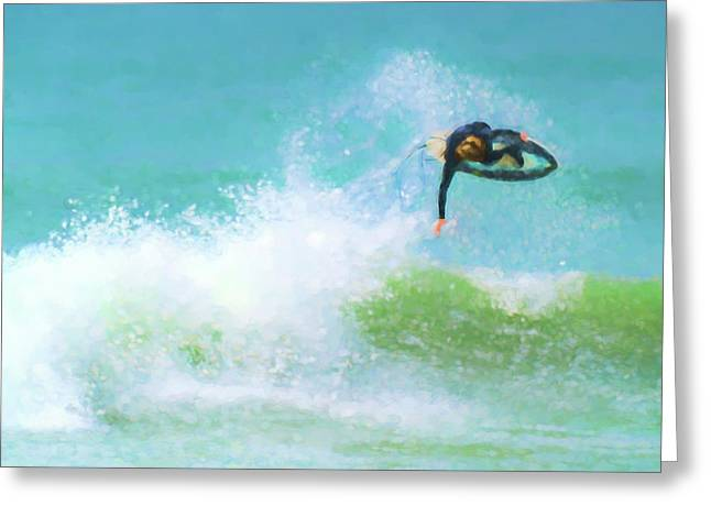 Reverse Hang Time Surfing Watercolor Greeting Card