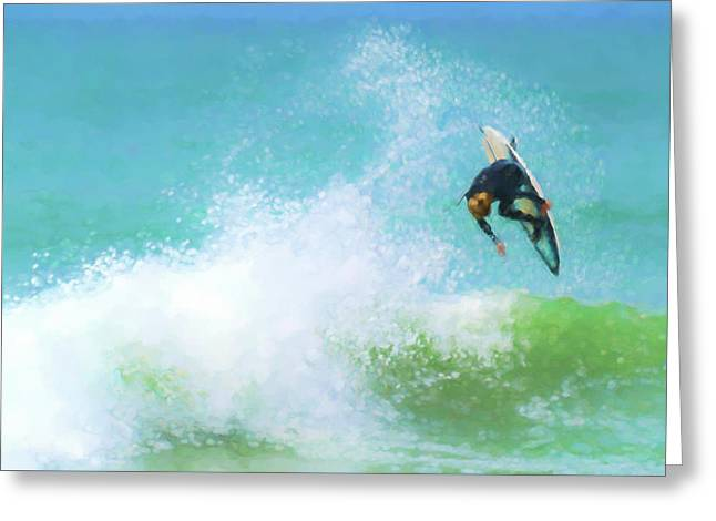 Reverse Must Go Down Now Surfing Watercolor Greeting Card