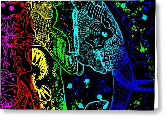Rainbow Zentangle Elephant With Black Background Greeting Card