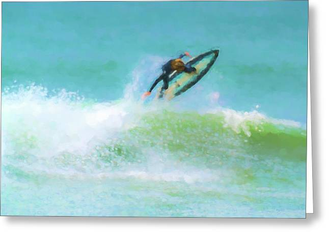 Reverse Up Surfing Watercolor Greeting Card