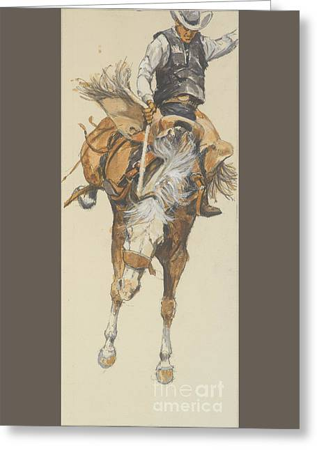 Revised Bucking Horse Greeting Card by Don Langeneckert