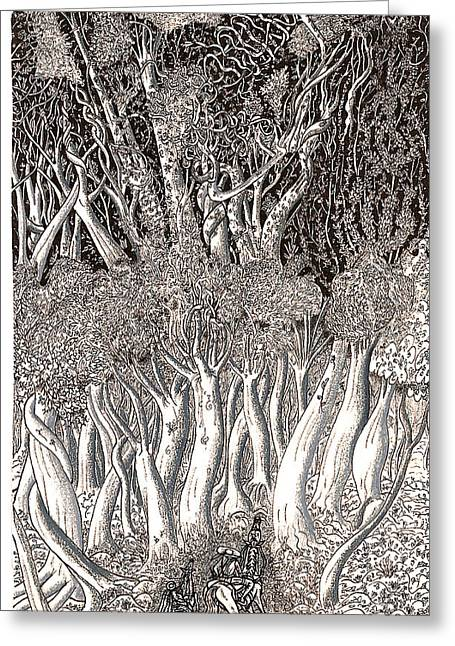 Greeting Card featuring the drawing Revolution In Shitaki Forest by Al Goldfarb