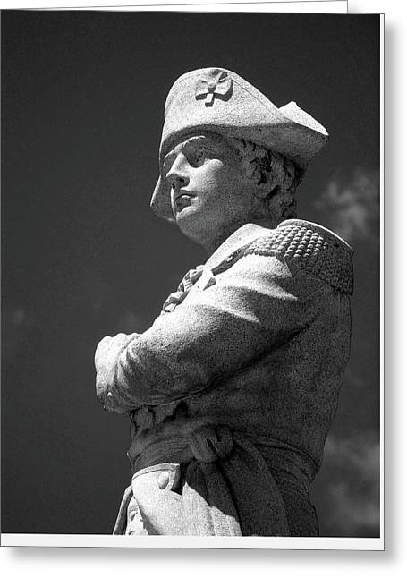 Revolutionary War Soldier In Bw Greeting Card by Susan Lafleur