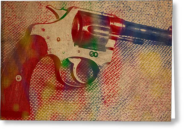 Revolver Watercolor Art Number 2 Greeting Card by Design Turnpike