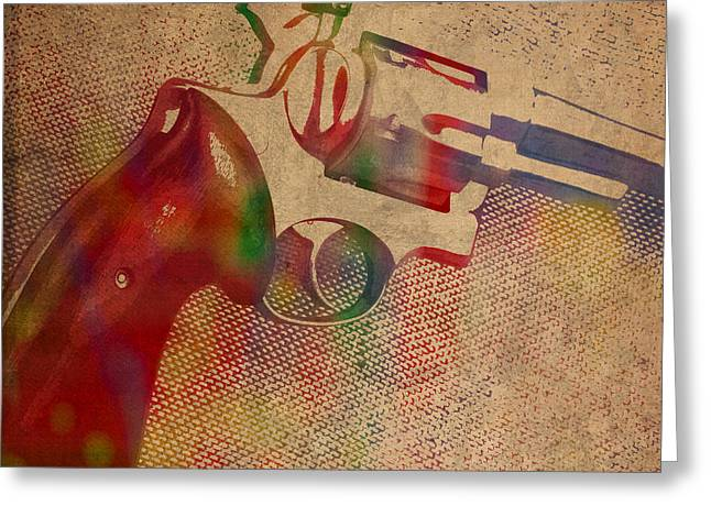 Revolver Watercolor Art Number 3 Greeting Card by Design Turnpike
