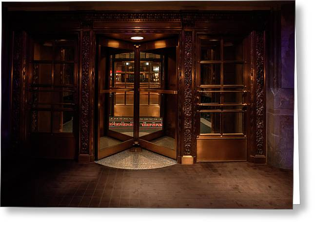 Revolving Door Entrance To Michael Jordan Steak House - Chicago Greeting Card by Daniel Hagerman