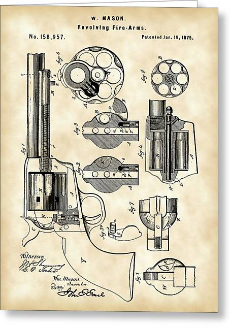 Revolving Fire Arm Patent 1875 - Vintage Greeting Card