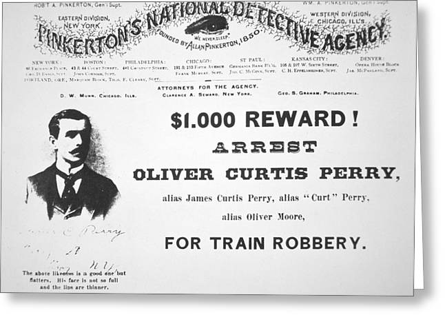 Reward Poster For The Arrest Of Oliver Perry Issued  Greeting Card