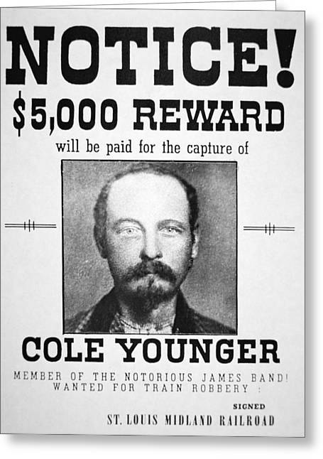 Reward Poster For Thomas Cole Younger Greeting Card