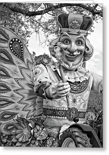Rex Rides In New Orleans Bw Greeting Card