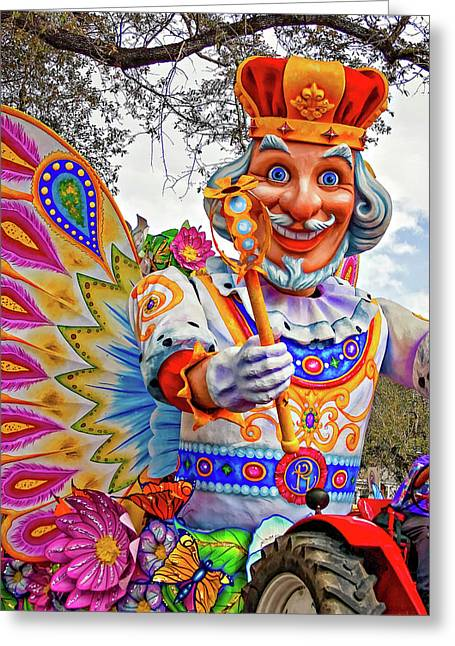 Rex Rides In New Orleans Greeting Card