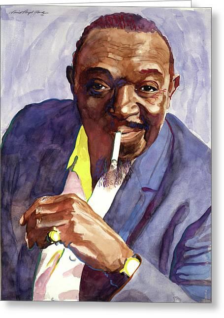 Rex Greeting Cards - Rex Stewart Jazz man Greeting Card by David Lloyd Glover