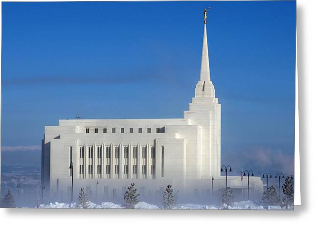 Rexburg Temple Rises Above The Mist Greeting Card