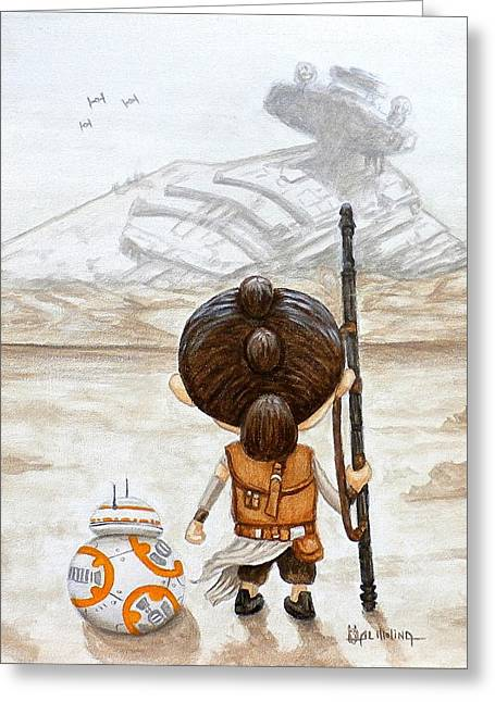 Rey With Bb8 Greeting Card