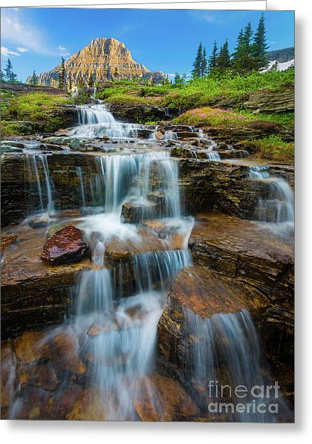 Reynolds Mountain Waterfall Greeting Card by Inge Johnsson