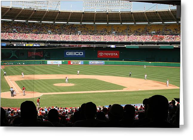 Rfk Stadium Greeting Cards - RFK Stadium Greeting Card by Lance Freeman