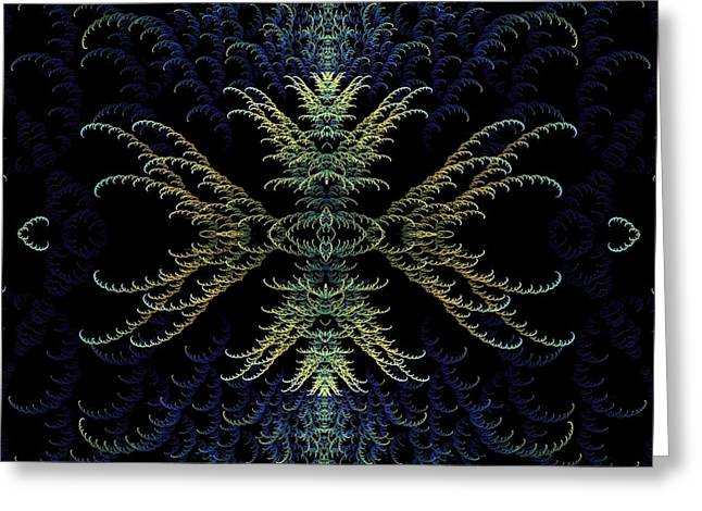 Rhapsody In Blue And Gold Greeting Card by Lea Wiggins