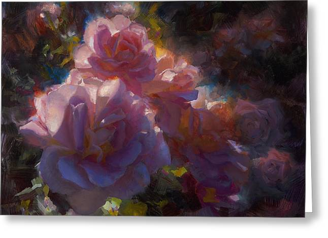 Greeting Card featuring the painting Rhapsody Roses - Flowers In The Garden Painting by Karen Whitworth