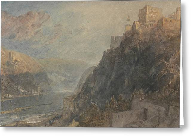 Rheinfels Looking To Katz And Gourhausen Greeting Card by Joseph Mallord William Turner