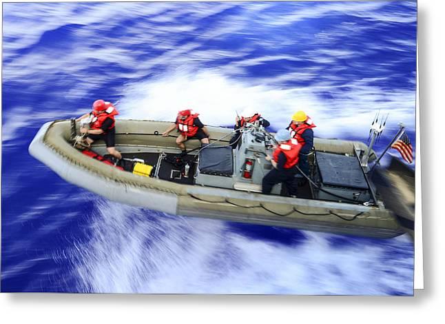 Rhib Boat Operation  Us Navy Greeting Card
