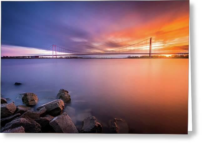 Rhine Bridge Sunset Greeting Card