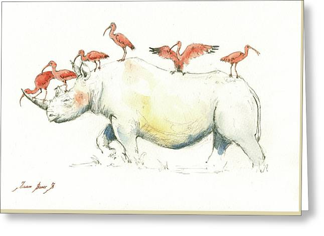 Rhino And Ibis Greeting Card by Juan Bosco