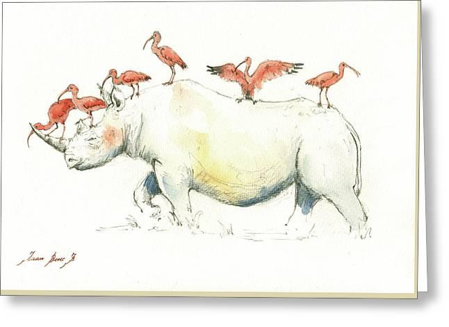 Rhino And Ibis Greeting Card by Juan Bosco