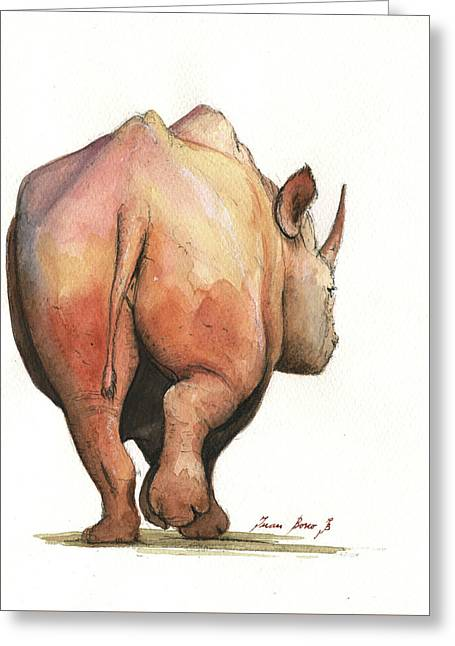 Rhino Back Greeting Card