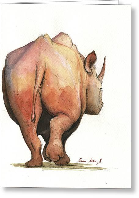 Rhino Back Greeting Card by Juan Bosco
