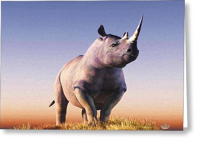 Rhino Greeting Card by Daniel Eskridge